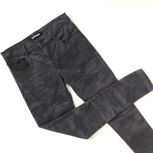 Express 2R Dark Gray Camo Jeggings Mid Rise Jeans